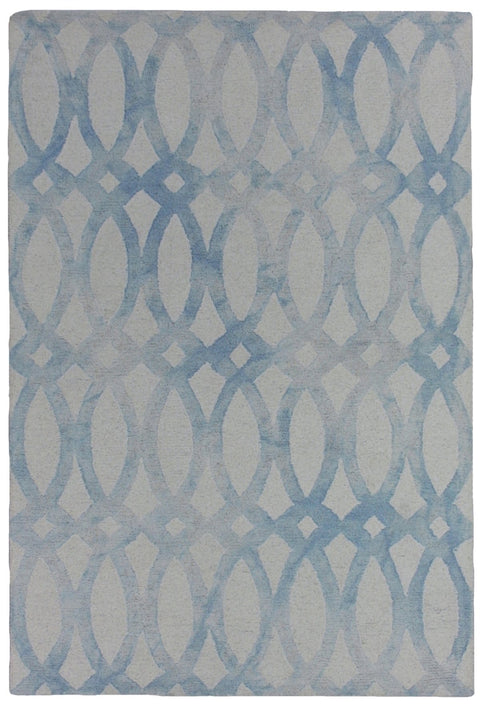 Alveiro Sky Blue and White Abstract Wool Rug