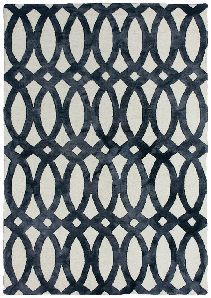 Amora Charcoal and White Abstract Wool Rug