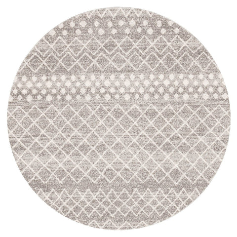 Apopa Grey & White Diamond Pattern Round Rug