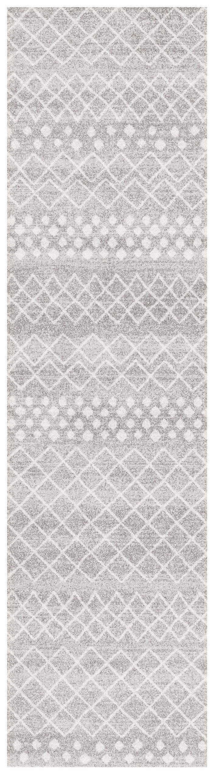 Rare Gem Apopa Grey & White Diamond Pattern Runner Rug