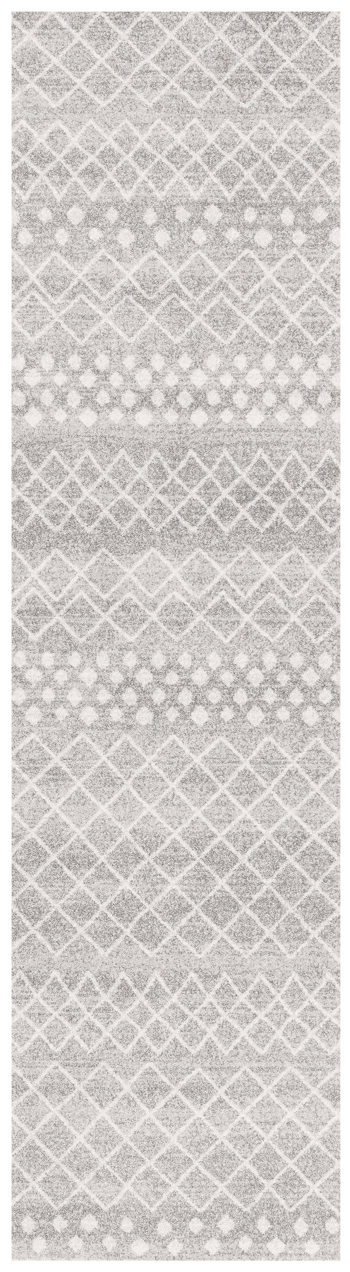 Apopa Grey & White Diamond Pattern Runner Rug