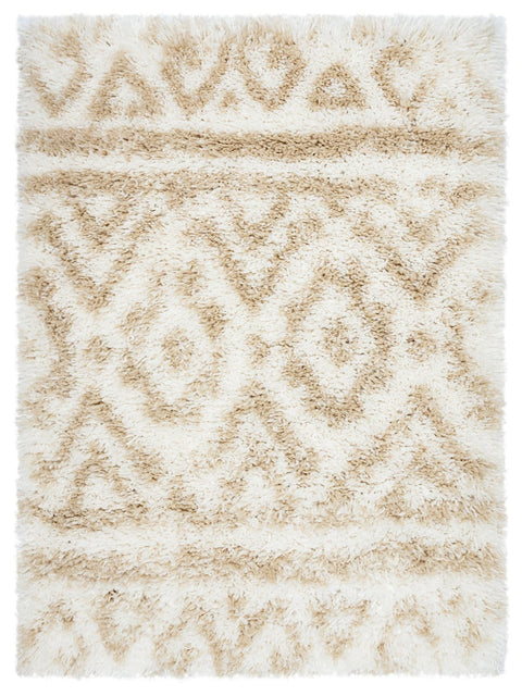 Arabella Ivory and Sand Beige Tribal Shag Indoor Mat