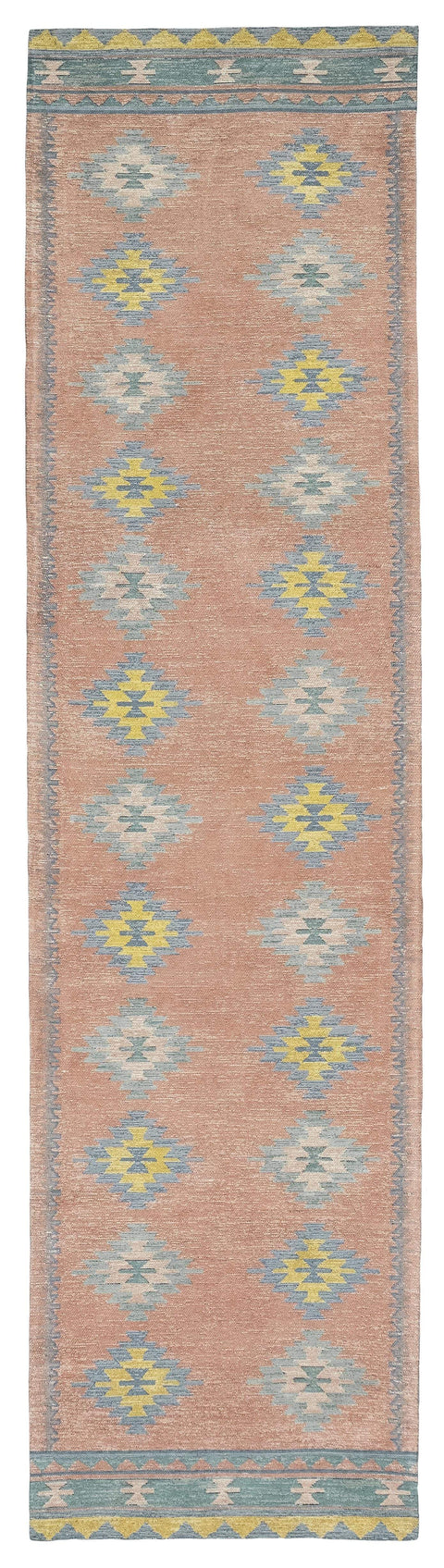 Ariel Peach and Blue Multi-Colour Diamond Tribal Runner Rug
