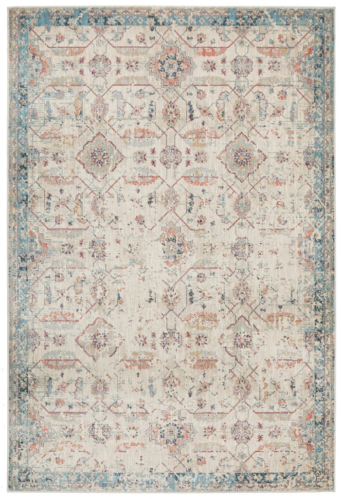 Arish Ivory and Blue Traditional Distressed Medallion Rug