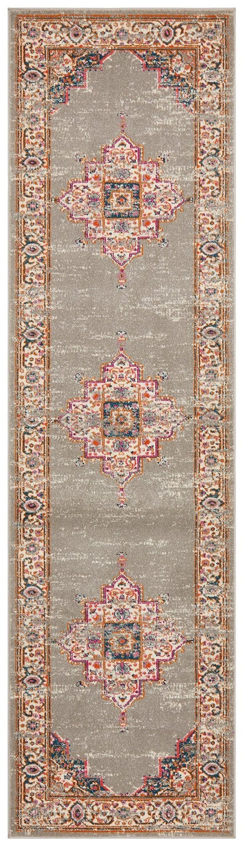 Arles Grey Traditional Medallion Runner Rug