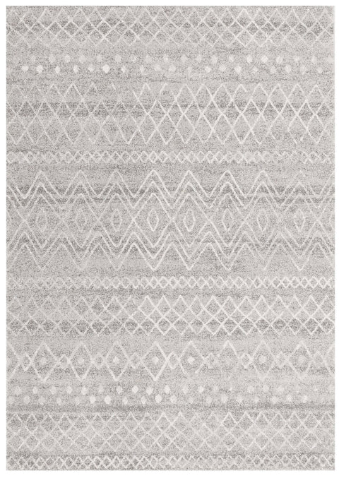 Asmara Grey & White Tribal Pattern Rug