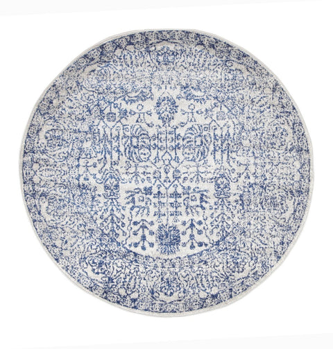 Attu Cobalt Blue Floral Transitional Round Rug