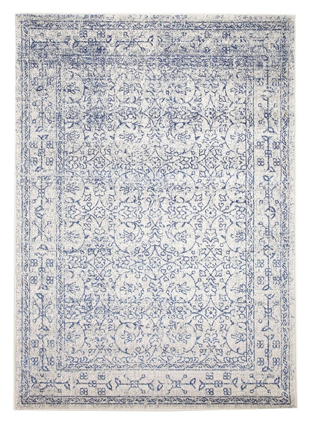 Avila Cobalt Blue Floral Transitional Rug