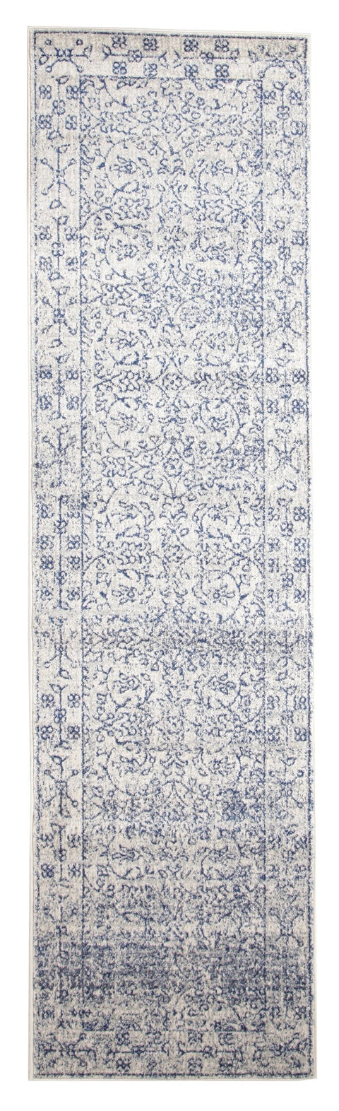 Avila Cobalt Blue Floral Transitional Runner Rug