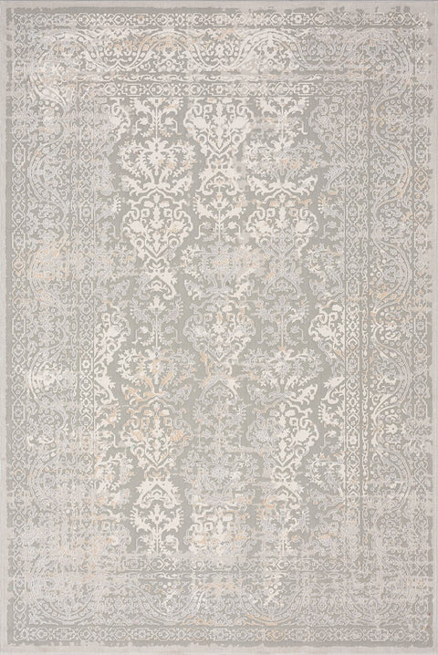 Aylin Cream Ivory and Grey Traditional Floral Rug