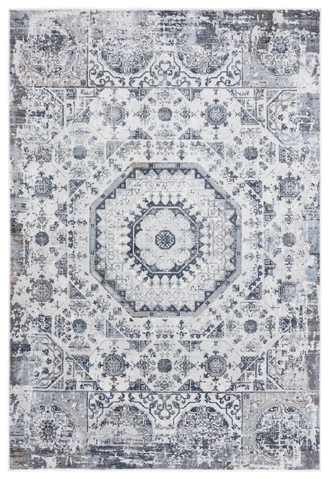 Aymeli Blue and Beige Medallion Rug