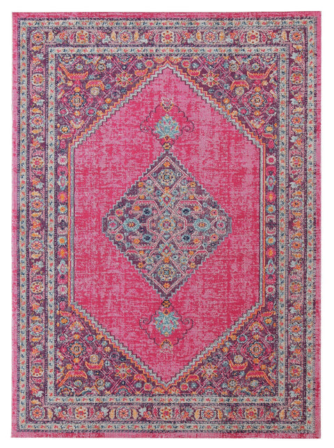 Kashan Pink Floral Medallion Distressed Rug