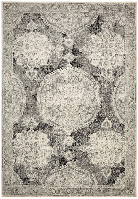 Balaken Cream & Charcoal Antique Look Medallion Rug