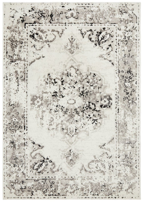 Balchik Black and Ivory Distressed Transitional Rug