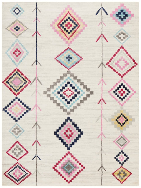 Baza White Tribal Rug