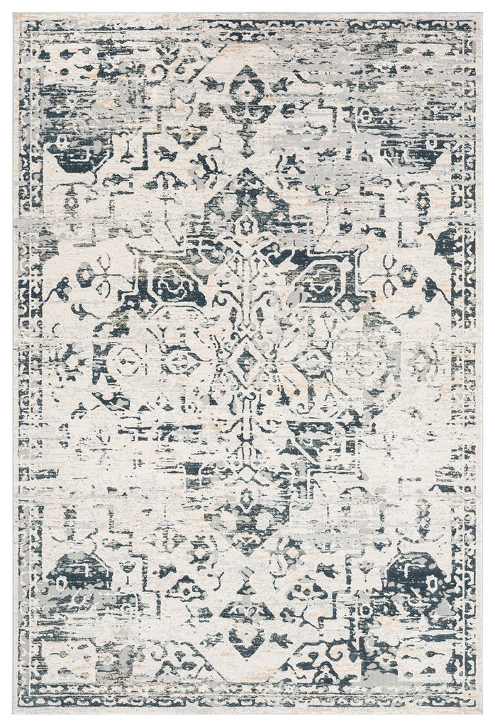 Bella Grey Ivory and Charcoal Traditional Distressed Rug