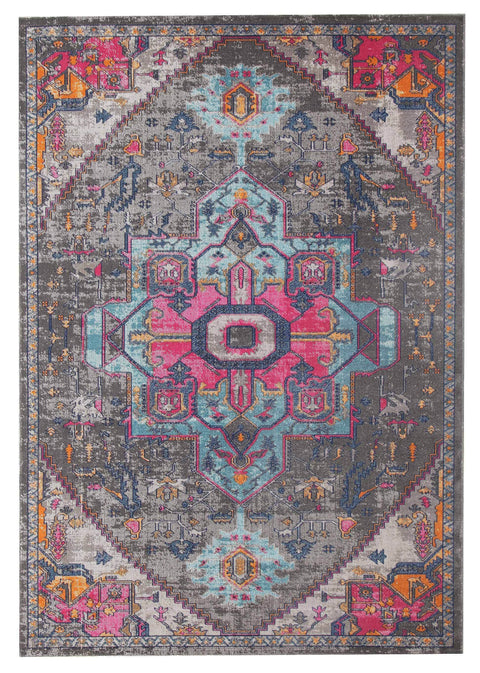 Bisha Charcoal & Pink Distressed Rug