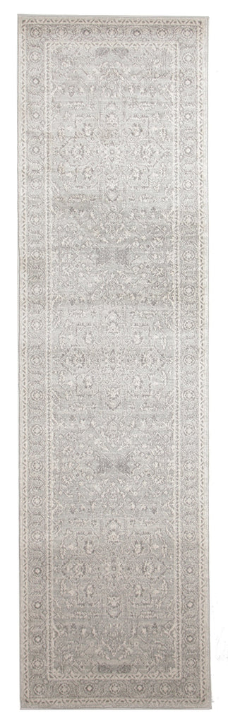 Biysk Grey & Ivory Floral Transitional Runner Rug