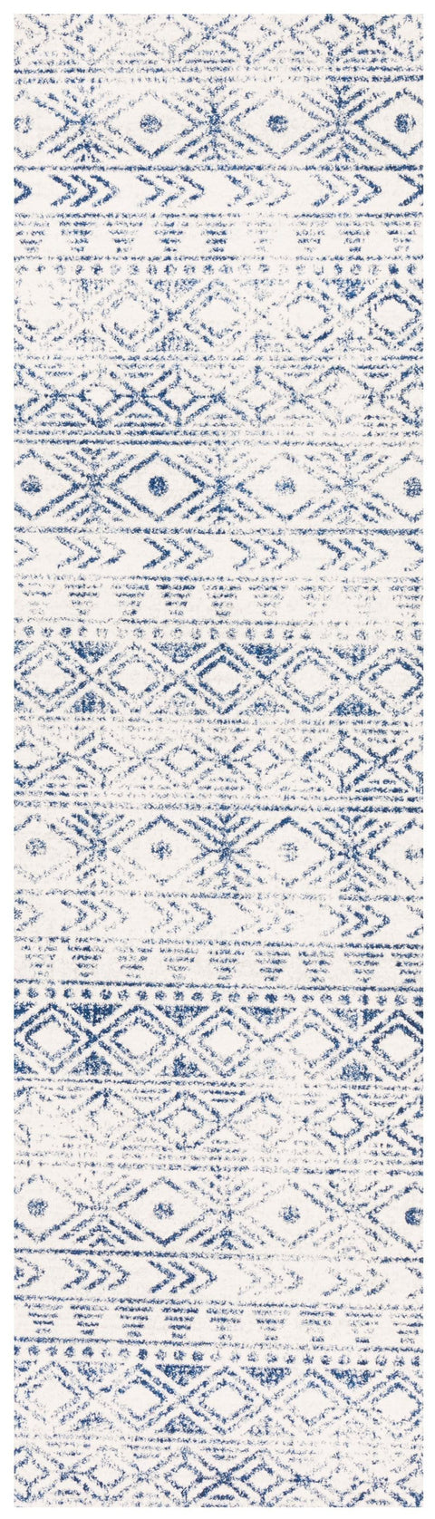 Braga Ivory & Cobalt Blue Tribal Pattern Runner Rug
