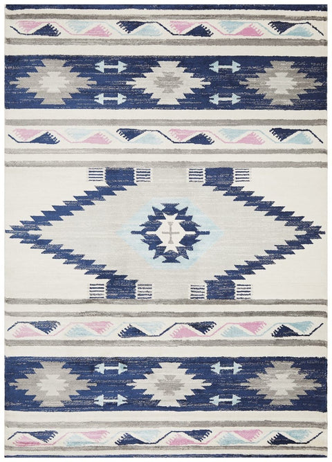 Camiri Navy Ikat Tribal Rug