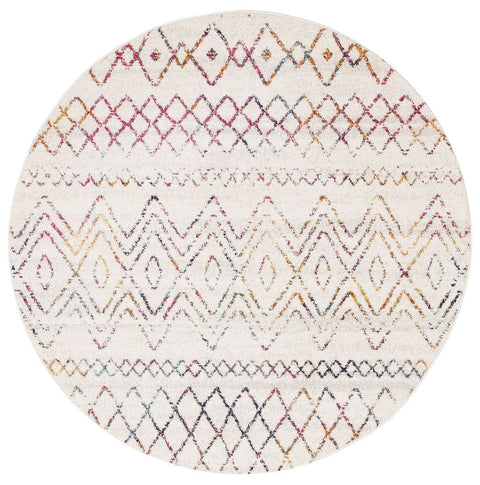 Casablanca Cream & Multi-Coloured Tribal Pattern Round Rug