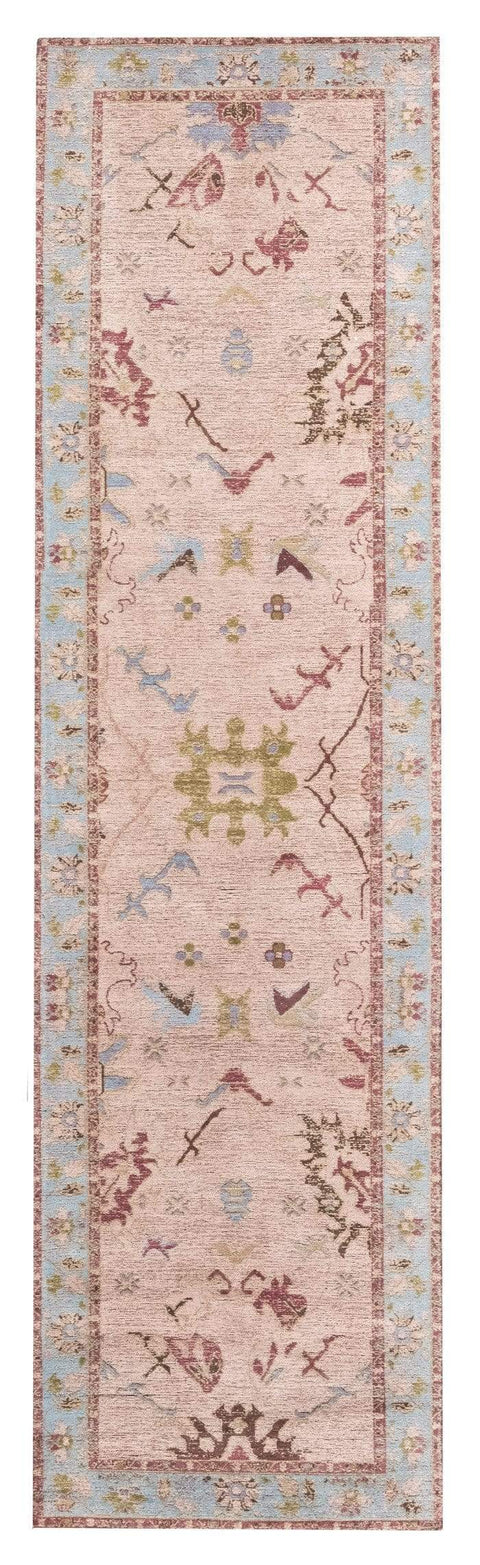 Dakota Blue and Pink Bordered Floral Runner Rug