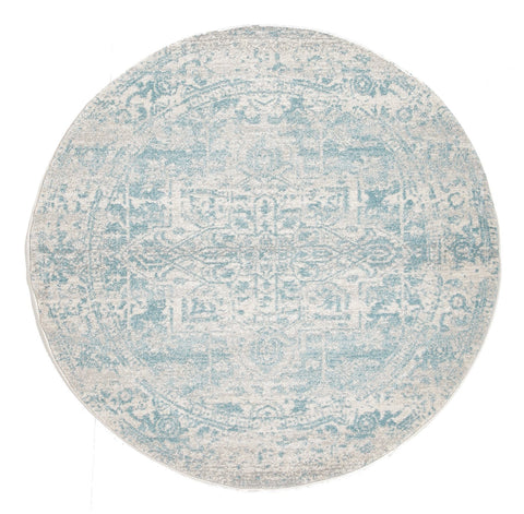 Dalvic Ivory & Light Blue Distressed Transitional Round Rug