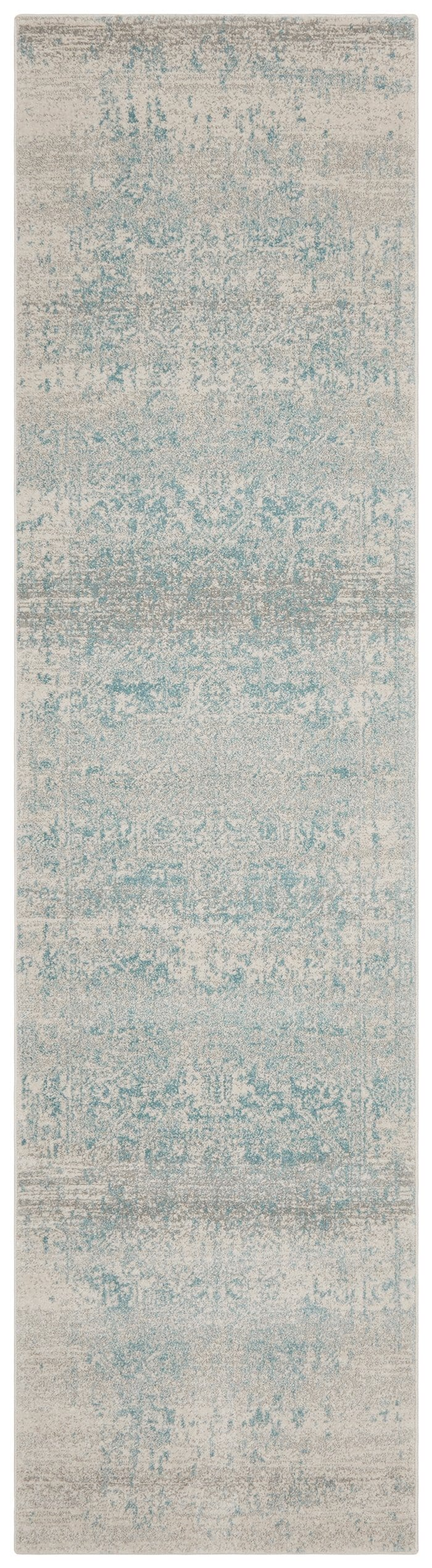 Dalvic Ivory & Light Blue Distressed Transitional Runner Rug