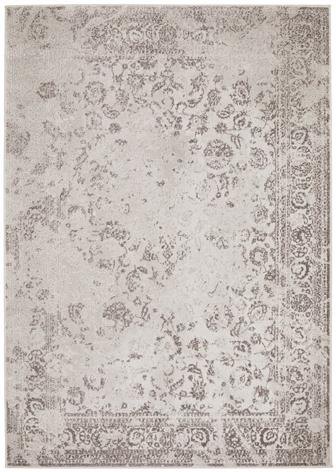 Daun Grey Traditional Bordered Floral Rug