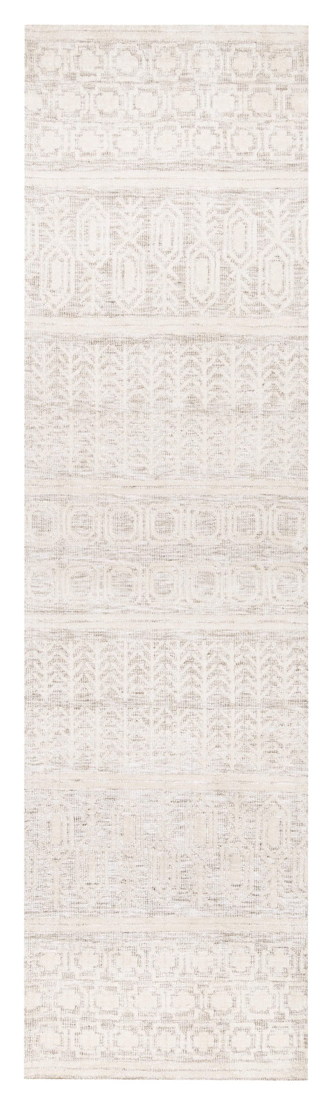 Delphine Ivory and Beige Tribal Transitional Runner Rug
