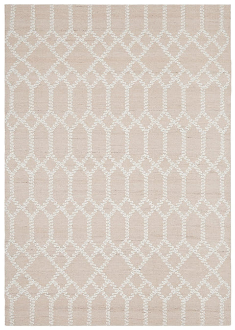 Denver Nude Pink and Ivory Geometric Pattern Rug