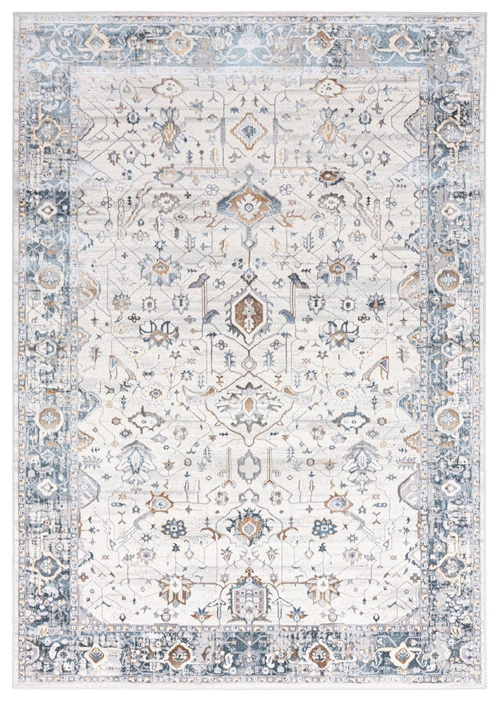 Eleanor Cleam Blue and Tan Traditional Rug