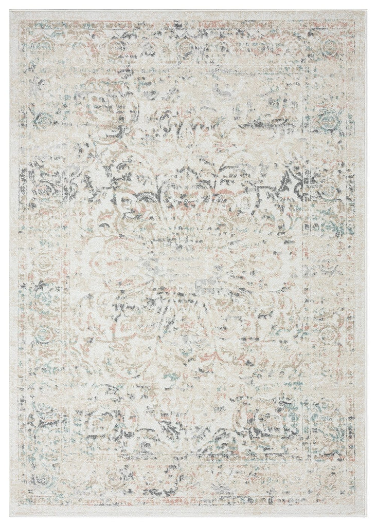 Elouise Cream and Grey Multi-Colour Traditional Floral Rug