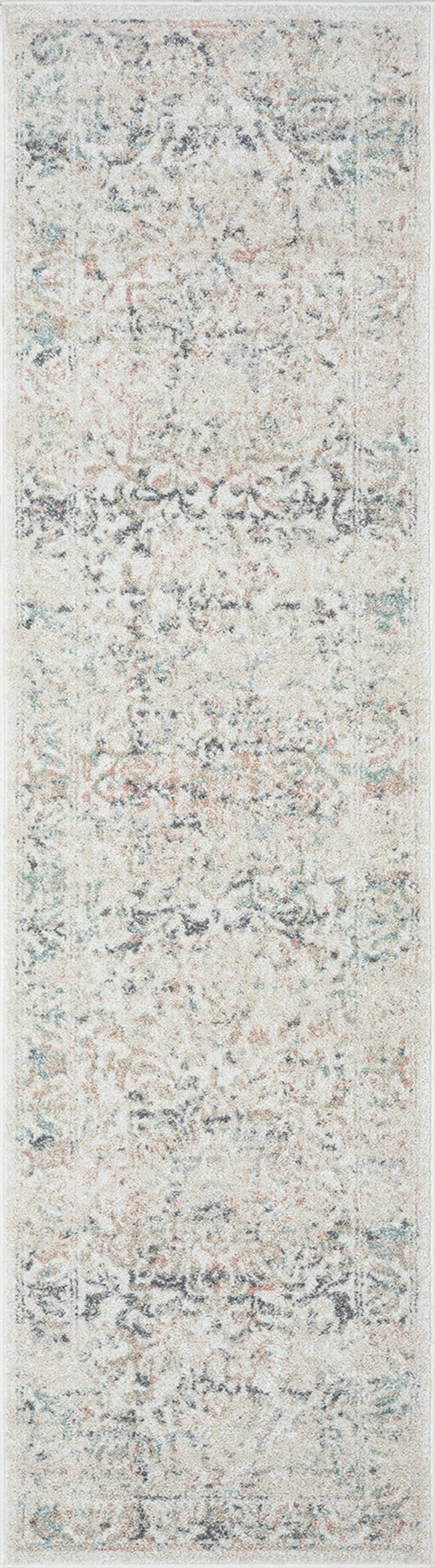 Elouise Cream and Grey Multi-Colour Traditional Floral Runner Rug