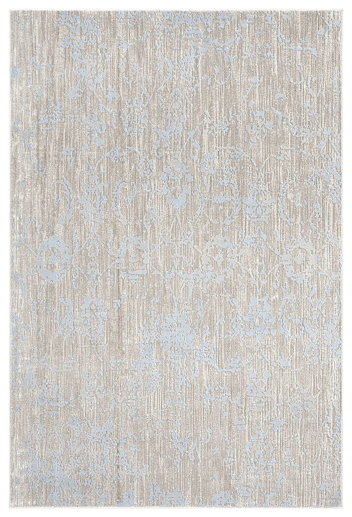 Emmie Grey Ivory and Blue Traditional Floral Rug