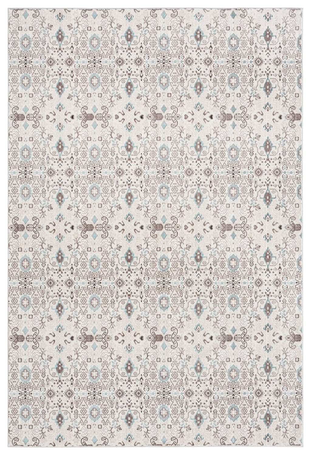 Evie Cream Grey and Blue Traditional Floral Rug