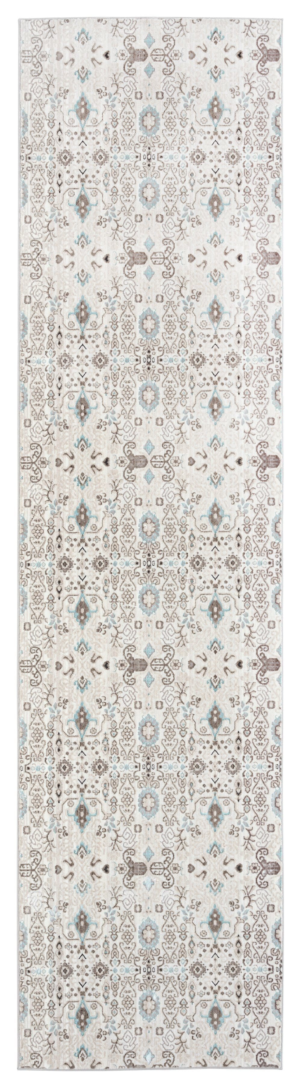 Evie Cream Grey and Blue Traditional Floral Runner Rug