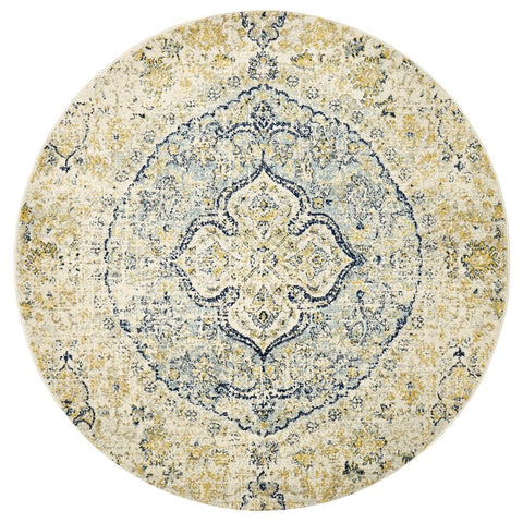Evora Blue and Gold Floral Medallion Round Rug