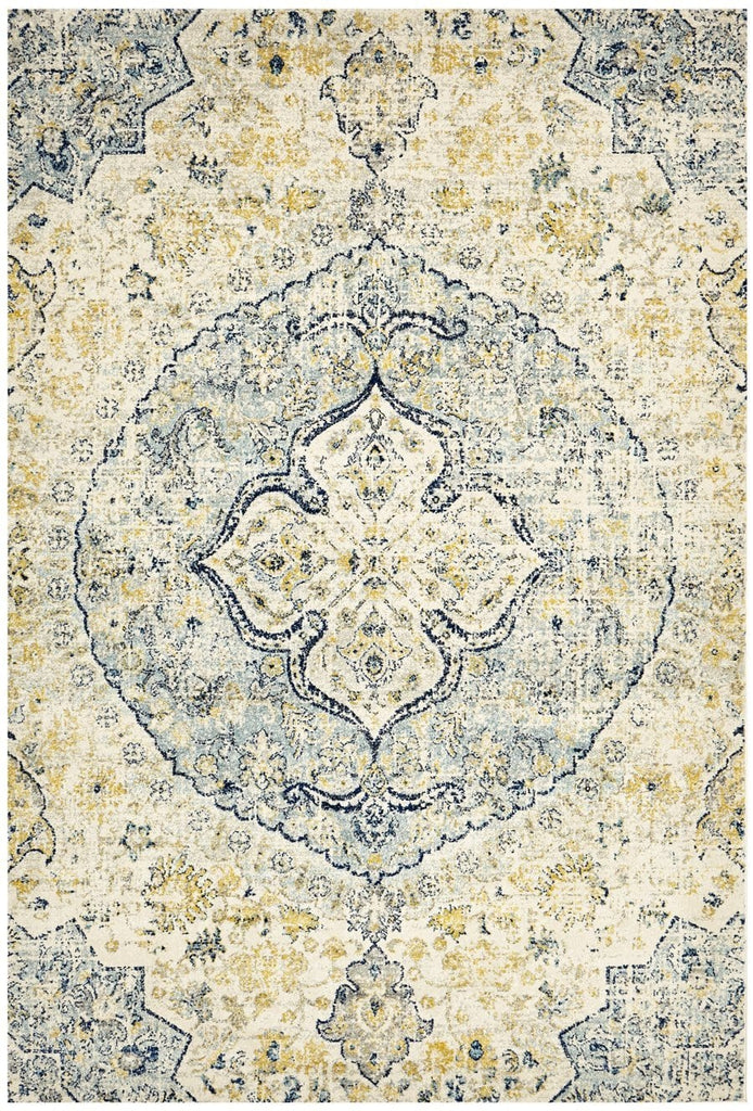 Evora Blue and Gold Floral Medallion Rug
