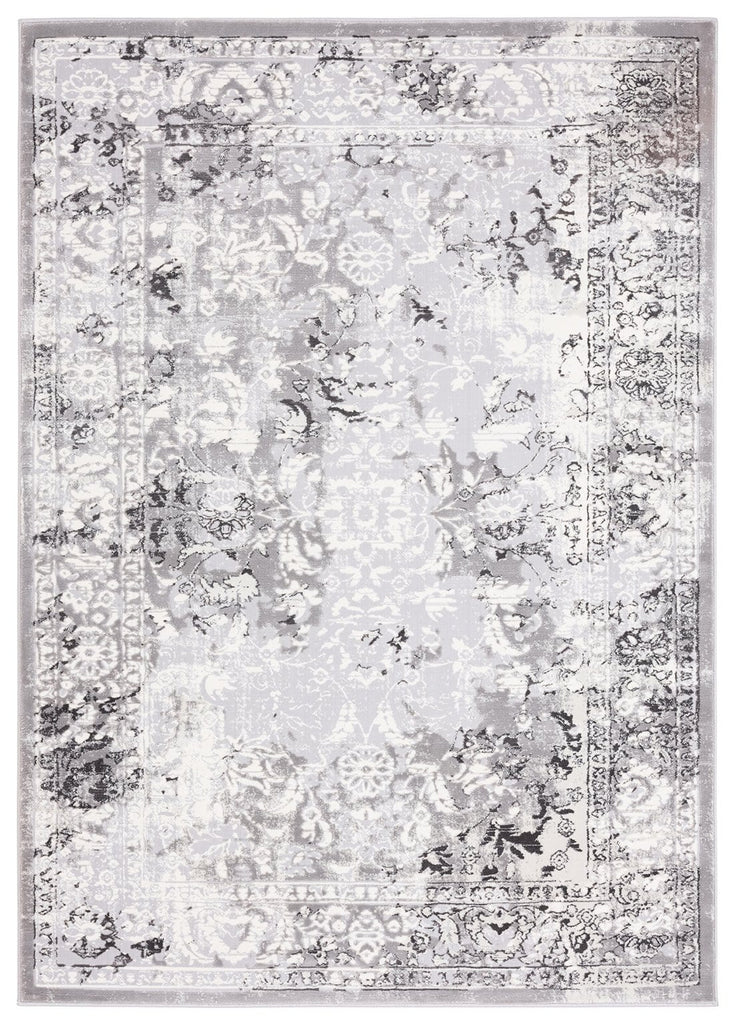 Evryn Charcoal Grey and Ivory Distressed Floral Rug