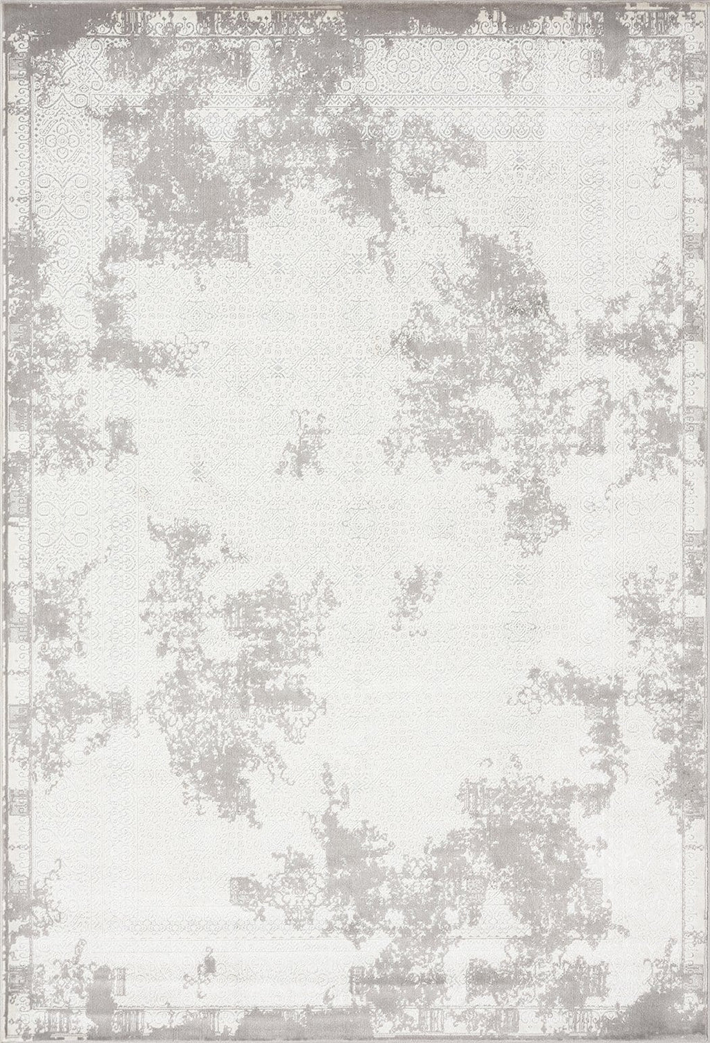 Fadime Charcoal Grey and Ivory Traditional Distressed Rug