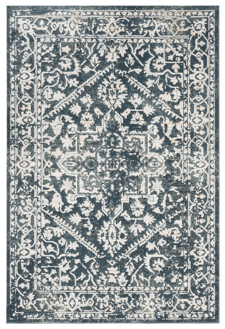 Fahri Charcoal Grey and Ivory Traditional Distressed Rug
