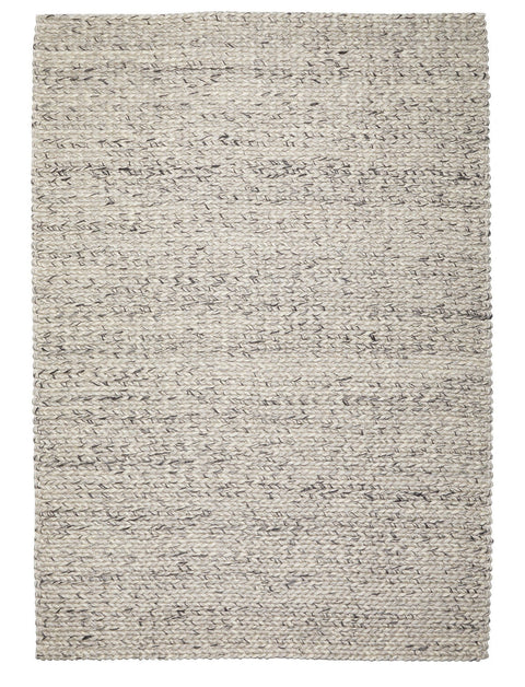 Farrah Marble Grey Braided Wool Rug