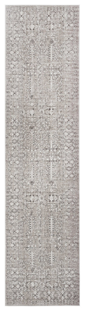 Genevieve Brown Grey and Silver Traditional Floral Runner Rug