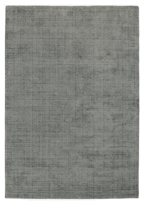 Ghorahi Dark Grey Distressed Wool Blend Rug