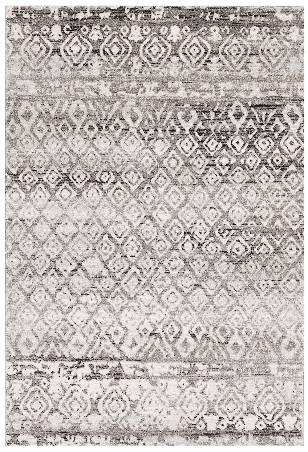 Giza Dark Grey & White Tribal Pattern Rug