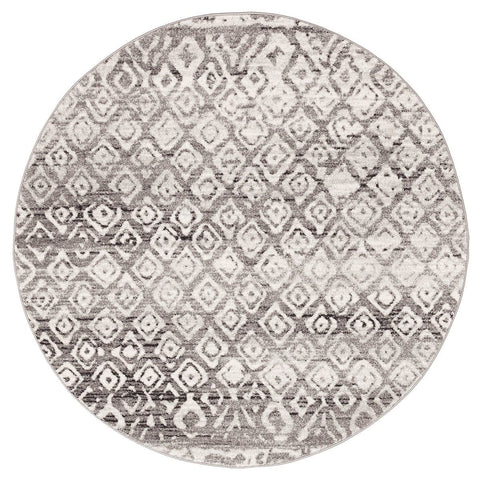 Giza Dark Grey & White Tribal Round Rug