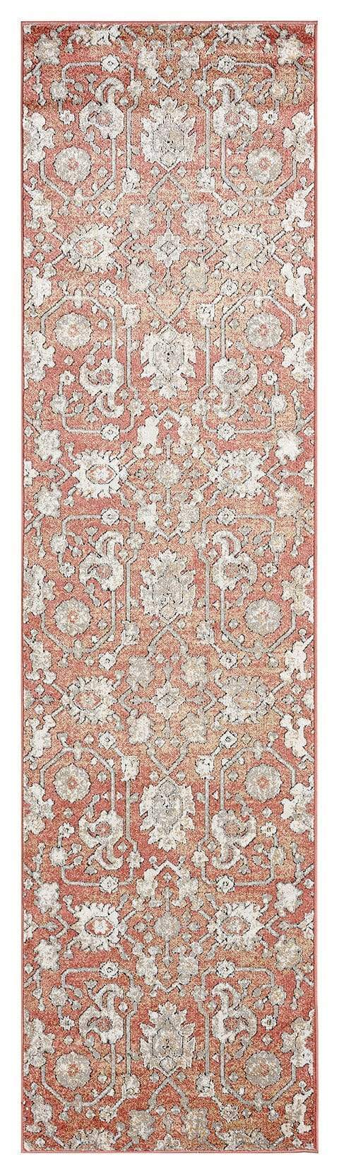 Gracie Peach Terracotta Transitional Floral Motif Runner Rug