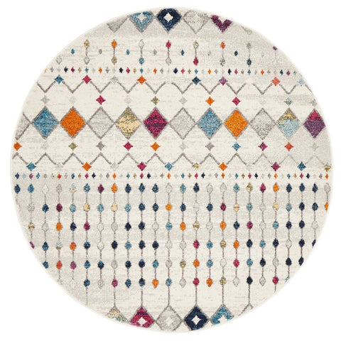 Granada Cream and Multi-Coloured Diamond Print Round Rug