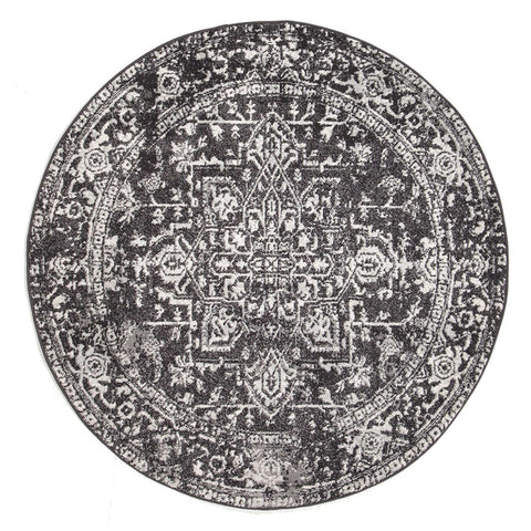Harstad Charcoal Grey Transitional Round Rug